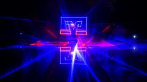 Lasershow Logo Volksbank auf Wasserleinwand
