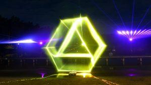 Lasershow Logo Commerzbank auf Wasserleinwand